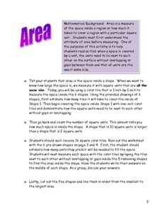 Here's an activity that provides an introduction to the concept of area using color tiles.