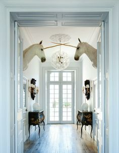 Glamorous and eclectic décor for the home including whimsical unicorns #eclectic #chandelier #fantasy #fairytale #LesTroisGarcons