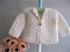 Crocheted Baby Sweater.....winter-white jacket