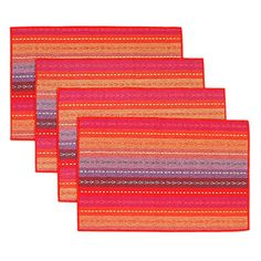 Handmade Woven Braided Ribbed Cotton Table Placemats Rainb ow Red 12 x 18 Mat Best, Bohemian Kitchen, Color Stripes, Braids, Rainbow, Creative, Cotton, Red, Handmade