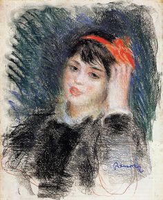 ART & ARTISTS: Pierre-Auguste Renoir - part 5 1878-80 Head of a Young Woman pastel on paper Private Collection