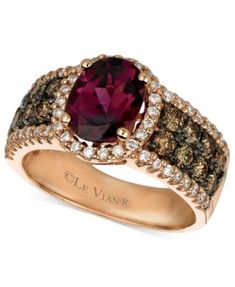 Radiate glamour in vibrant color and delicious sparkle. Le Vian ring features an oval-cut garnet center stone ct.) surrounded by a halo of round-cut white diamond ct.) and rows o Gold Rings Jewelry, Garnet Jewelry, Jewelry Watches, Gemstone Rings, Fine Jewelry, Jewellery, White Diamond Ring, Diamond Rings, Diamond Jewelry