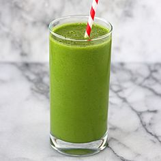 Green smoothie  -   Spinach leaves, apple, banana, frozen pineapple, unsweet almond milk. Says you can't taste the spinach. Will try.