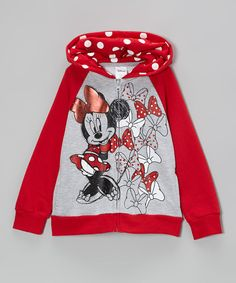 Take a look at this Red & Gray Bow Minnie Zip-Up Hoodie - Girls on zulily today!