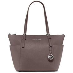 Michael Michael Kors Cinder Jet Set East West Zip Tote ($248) ❤ liked on Polyvore featuring bags, handbags, tote bags, cinder, zip top tote, tote purses, brown handbags, shoulder strap purses and zip purse