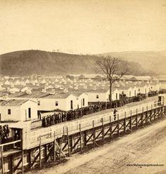 Elmira, New York, Civil War Prison Camp Barracks, historic photo