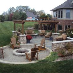 Backyard Fire Pit Design - I like the shape of this patio/fire pit area Diy Pergola, Gazebo, Pergola Kits, Pergola Ideas, Pergola Roof, Cheap Pergola, Backyard Patio Designs, Backyard Landscaping, Backyard Ideas