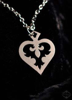 Fleur de lis Heart small pendant necklace in stainless steel - hypoallergenic girls jewelry