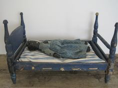 19th Century Wonderful Old Blue Paint Wood Doll Rope Bed Hand Made Primitive | eBay