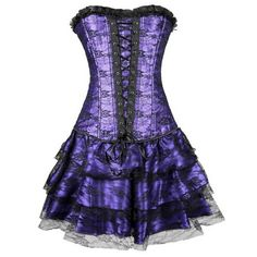 Kiwi-rata Womens Sexy Corset Burlesque Moulin Dress Witch Halloween 2XL Purple. Package incluld: 1 Corset+1 Mini Skirt+1 G-string. Fully adjustable criss cross ribbon lacing in the back allows you to adjust for a comfortable fit. Flexible And Durable,Bend Easily But Recover Quickly To Origin. Fashion,Sexy,Use easy,Slim fit quickly. 100% new product,Satin,Lace up.