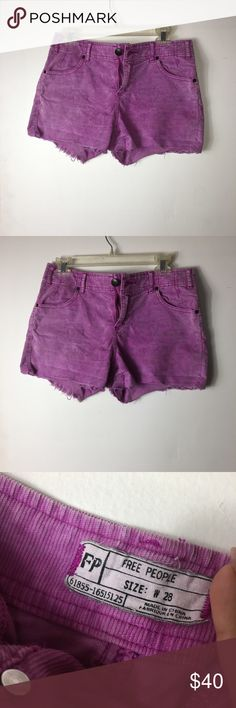 Free People Corduroy Shorts w28 Pink/purple velvet Corduroy Shorts made by free people in a size W 28. No signs of wear!! Free People Shorts