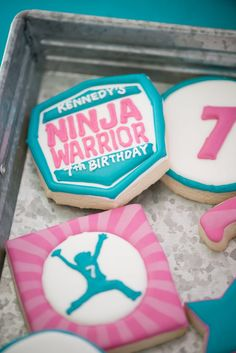 An American Ninja Warrior Birthday Party Ninja Birthday Cake, Ninja Cake, Karate Birthday, Ninja Birthday Parties, Ninja Party, Girl Birthday Themes, 8th Birthday, Birthday Ideas, Karate Party