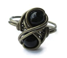 Gothic Jewelry  Gemstone Infinity Ring  Wire by DistortedEarth, $12.00