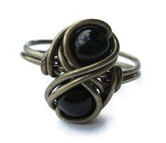 Gothic Jewelry  Gemstone Infinity Ring  Wire by DistortedEarth, $12.00