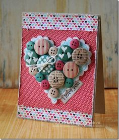 Stamped your wood buttons - great idea; also it doesn't have to be for V-Day; could be used in journaling / mixed media and canvas art!