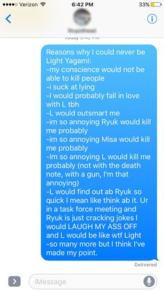 Reasons why I could never be light yagami