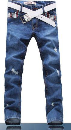 Stright Pants Grid Grind Arenaceous Long Fit Mens Straight Tube Jeans XS/S/M/L/XL/XXL/XXXL @S5D202-1bl