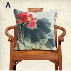 Modern Chinese lotus body pillow Ink Painting style 18 inch square sofa cushions
