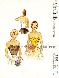 McCall's 8553 Vintage 1950s Strapless Evening Bodice Sewing Pattern Size 18 by DRCRosePatterns on Etsy