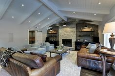 Home Improvement Archives Metal Fireplace, Bookshelves Built In, Exposed Beams, My Living Room, Beautiful Homes, Hardwood Floors, Home Improvement, Home And Family, Traditional