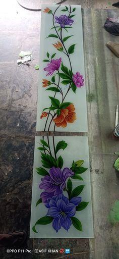 Balcony Glass Design, Window Glass Design, Glass Painting Designs, Paint Designs, Folk Art Flowers, Flower Art, Glass Door, Glass Art, Front Door Design Wood
