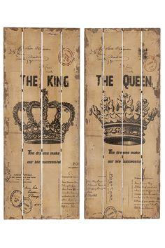 King & Queen Wall Decor - Set of 2 on HauteLook