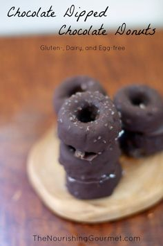 Chocolate Dipped Chocolate Donuts that are #glutenfree, #eggfree, and wonderful!