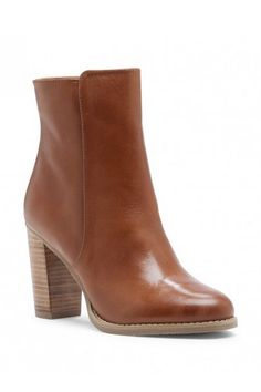 Cognac leather stacked heel bootie | Micah