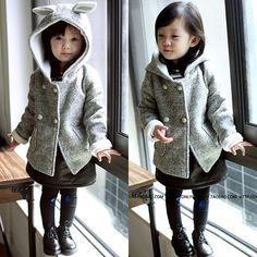 New 2015 Autumn kids jacket Children's cartoon rabbit ear winter coat sleeve…