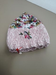 Pink Winter Hat, Pink and Rainbow Infant Hat, Ready to ship infant hat - Pink infant hat