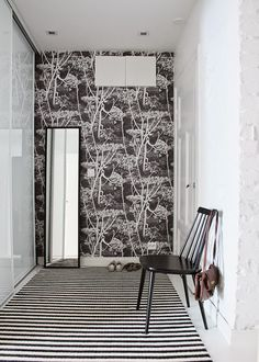 Elisa's Beautiful Black and White Helsinki Apartment — House Call Black And White Hallway, Black And White Wallpaper, Helsinki, Entry Stairs, Old Fireplace, Inspirational Wallpapers, Dream Apartment, Modern Country, Wall Wallpaper