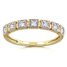 Seven round-cut diamonds are set into square milgrain boxes across this fashionable yellow gold wedding band. The ring is finished with a high polish and each stone has been carefully prong set for quality. Big Diamond Wedding Rings, Gemstone Engagement Rings, Gold Wedding, Wedding Band, Round Cut Diamond, Black Diamond, Ring Size Guide, Sapphire Gemstone, Jewels
