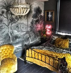 The Bohemian, Dark & Inviting Home of Nadia Martini - The Interior Editor Bohemian Style Bedrooms, Boho Style, Bohemian Bedding, Feature Wallpaper, Inviting Home, Dark Walls, Dark Interiors, Home And Deco, My New Room
