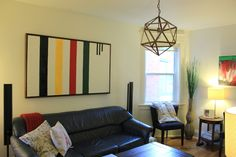 Updated living room for Spring - BM cloud white for walls, HBC painting by Matt, hexagon pendant, summer greens - Science of Married Living Room Lighting, Living Room Decor, Hudson Bay Blanket, Vintage Cabin, Living Room Update, Victorian Homes, Spring, New Homes, Wall Decor