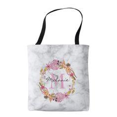Pretty Pink Floral Wreath Monogram Tote Bag - accessories accessory gift idea stylish unique custom