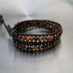 Mens Beaded Leather Wrap Bracelet Mahabharat