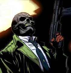 Black Mask      Real Name: Roman Sionis    First Appearance: Batman #386    Powers/Abilities: Criminal Mastermind, torture expert, skilled in hand-to-hand combat, accurate marksman, master of disguise.    -All full write-ups are here: http://screenrant.com/batman-movie-villains-list-discussion-scott-176844/