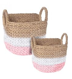 S_2 WATER HYACINTH BASKET IN PINK_NATURAL COLOR 39X33X30_37