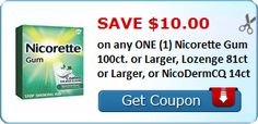 New Coupon!  Save $10.00 on any ONE (1) Nicorette Gum 100ct. or Larger, Lozenge 81ct or Larger, or NicoDermCQ 14ct - http://www.stacyssavings.com/new-coupon-save-10-00-on-any-one-1-nicorette-gum-100ct-or-larger-lozenge-81ct-or-larger-or-nicodermcq-14ct/