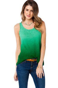 ShopSosie Style : Ombre Knit Tank in Green $36.00