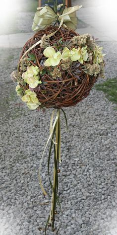 Decorative Wicker ball with a floral accent by Skygriffin on Etsy