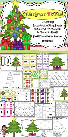 Christmas Trees! Interactive Playdoh Mats. Use playdoh, dry erase and manipulatives for counting, addition, ten frames, and numeral recognition. Differentiated. Preschool, kindergarten, first grade, special education, homeschooling. $