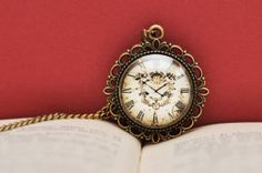 Clock Necklace Clock Image Pendant Vintage Look by PauwowHandmade