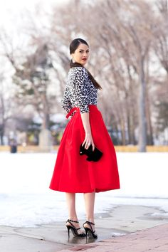 leopard sweater, midi skirt, strappy heels