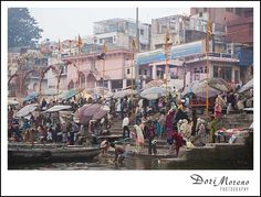 Life in full swing on the banks of the Ganges river, Varanasi, India Varanasi, Banks, Times Square, India, River, Painting, Goa India, Painting Art, Paintings
