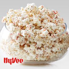 Party popcorn! Confetti Clusters are sprinkled with candy sprinkles for a little fun twist. Toss in a handful of roasted peanuts for a sweet and salty snack.