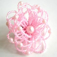 Vintage pink glass seed beaded flower brooch.