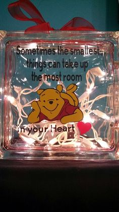 Created by Anne's Art & Vinyl Creations, custom glass block with or without lights. Winnie the Pooh, Night light, baby shower gift.  Find me on Facebook