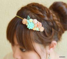 Wedding Headband Bridal Hairband Soft Pastel Coral Mint Green Peach Floral Headpiece Custom Romantic Flower Headband