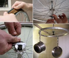 A few weeks ago we showed you how to repurpose old bike rims in the laundry. Here's a similar idea for the kitchen.  on The Owner-Builder Network  http://theownerbuildernetwork.co/social-gallery/a-few-weeks-ago-we-showed-you-how-to-repurpose-old-bike-rims-in-the-laundry-heres-a-similar-idea-for-the-kitchen